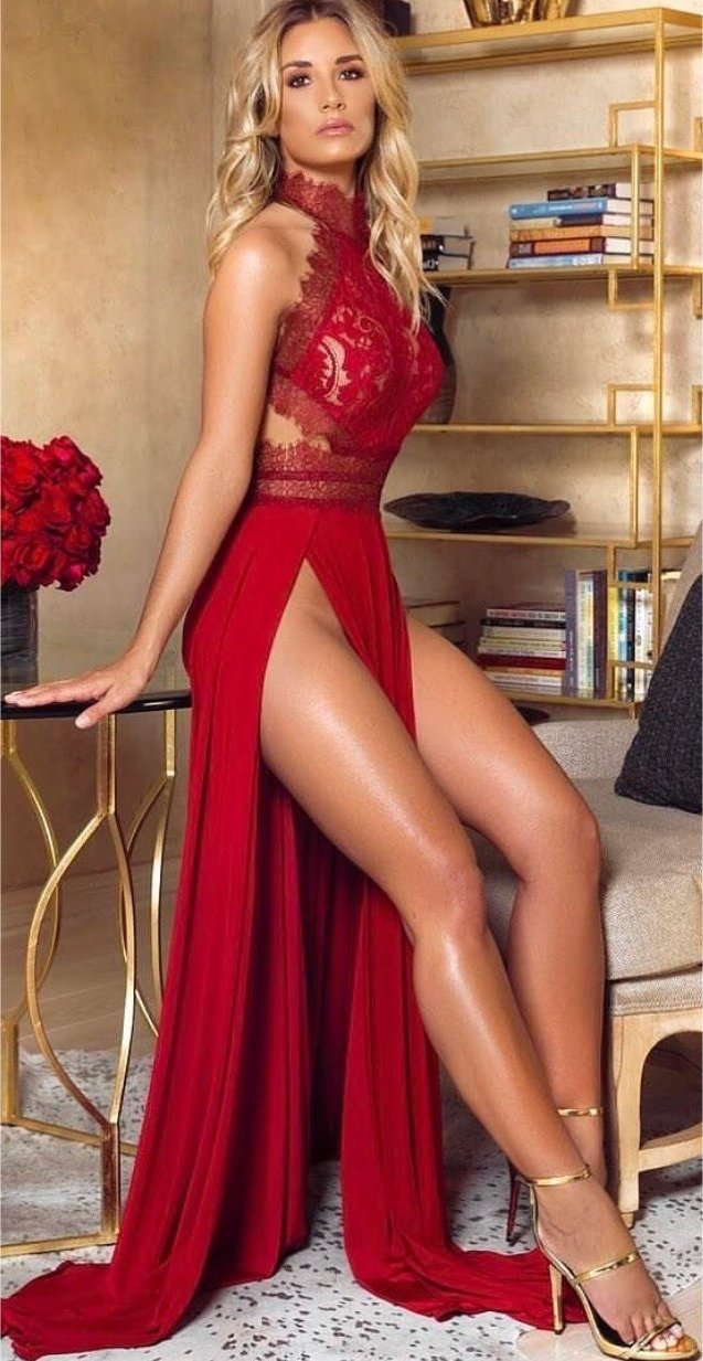 Opinion Sexy blonde red dress charming